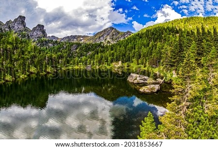 Mountain lake in the forest. Forest lake in mountains. Mountain forest lake landscape. Lake in forest