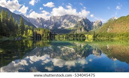 mountain lake in the Julian Alps, Italy #534045475