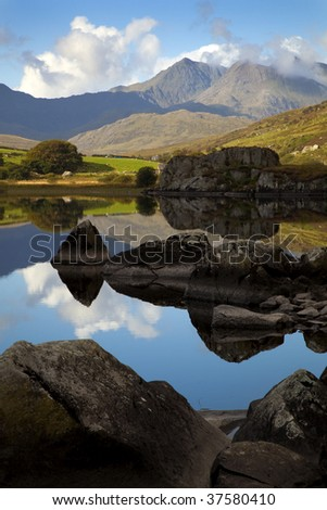 mountain lake in wales uk