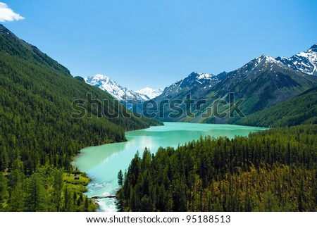 Mountain lake Kucherlinskoe from above, Altay, Russia