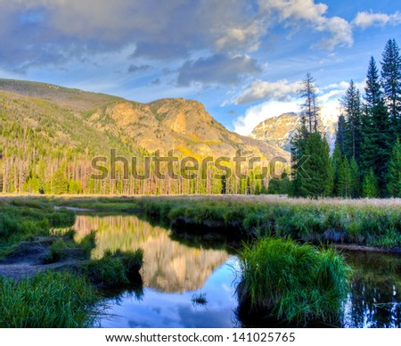 Mountain lake landscape with reflection. Colorado, USA