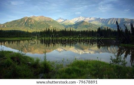 Mountain Lake Reflects Range in Background Alaska Wilderness North America USA