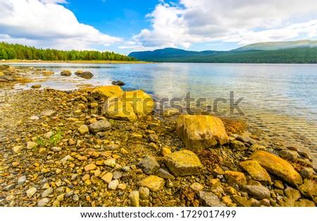 Mountain lake rocky beach landscape