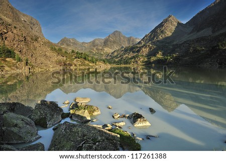 Mountain lake, Russia, Siberia, Altai mountains, Katun ridge.