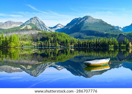 Mountain lake Strbske pleso in National Park High Tatra, Slovakia, Europe #286707776