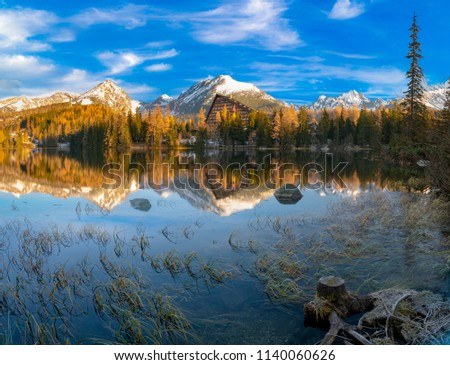 Mountain lake Strbske Pleso in winter scenery - high resolution panorama #1140060626