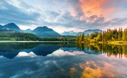 Mountain lake Strbske pleso (Strbske lake) in High Tatras national park, Slovakia