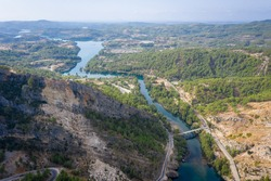 Mountain Lake. view of the valley from the side of the dam Oymapinar. Green Canyon, Turkey, Managvat