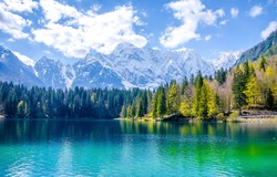Mountain lake water landscape scene