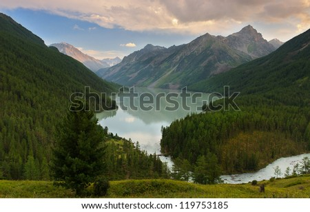 Mountain lake, West Siberia, Altai mountains, Katun ridge.
