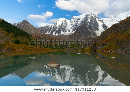 Mountain lake with reflections, Altai