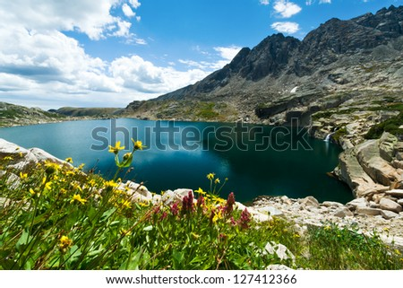 Mountain lake with waterfall and wildflowers blooming the Colorado summer