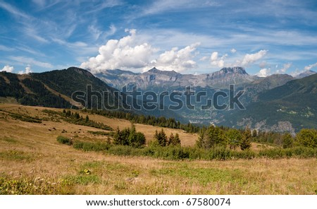 Mountain landscape. Alps, Chamonix valley, Col de Voza in France. Popular touristic and hiking.