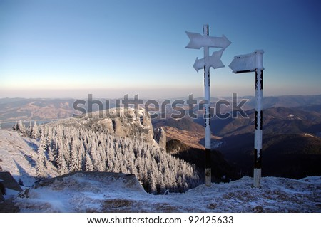 mountain landscape and signs in winter