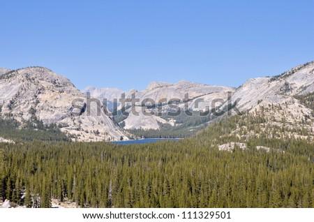 Mountain Landscape and Tenaya Lake in Yosemite National Park