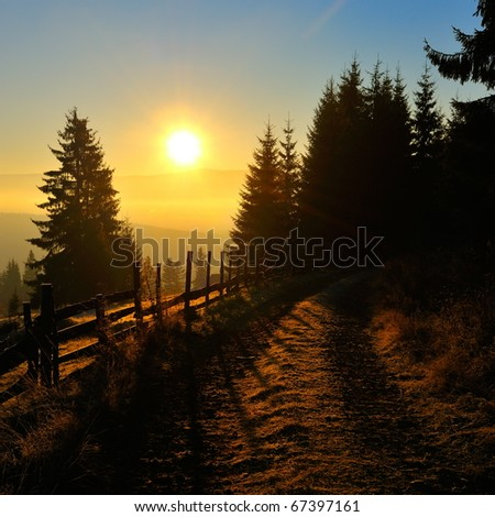 mountain landscape at dawn