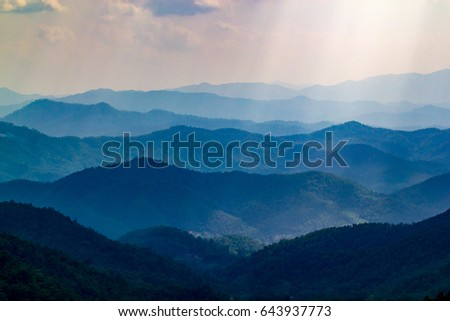 Mountain Landscape before sunset in Thailand  #643937773
