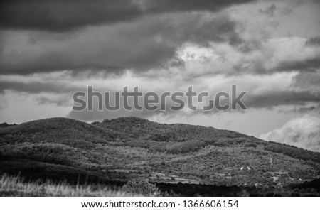 mountain landscape. blue sky with rainy clouds. sunny weather. travel and wanderlust. adventures are waiting for you. hiking camping trip. summer vacation. beauty of nature. adventure is out there. #1366606154