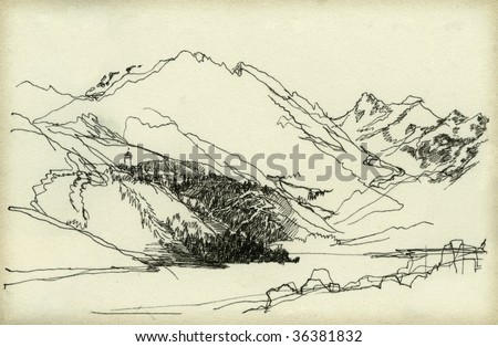 Mountain landscape, drawn with ink on paper.