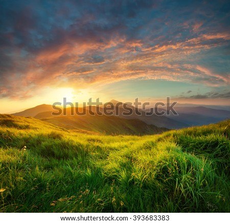 Mountain landscape during sunrise in the summer time. Natural summer landscape