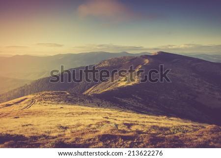 Mountain landscape. Filtered image:cross processed vintage effect.