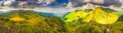 Mountain landscape. Hiking fagaras mountains in Romania. Carpathians, Transilvania, Romania, Europe. Transfagarasan road. Panorama