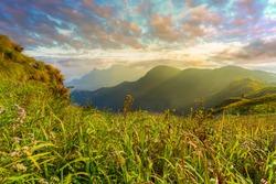 Mountain landscape in asia,Thailand, Asia, Landscape - Scenery, Sunrise - Dawn, Rainforest