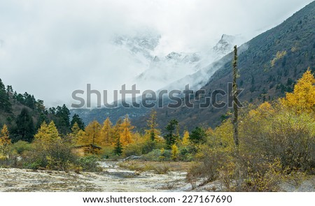 Mountain landscape in bad weather in Huanglong National Park near Jiuzhaijou - SiChuan, China