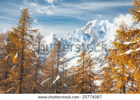 Mountain landscape in fall season: south side of Mont Blanc; Italy, Europe.