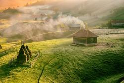 mountain landscape in summer morning, Romania