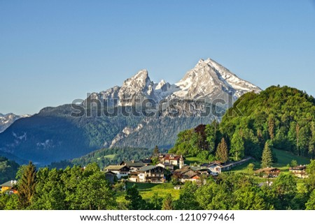 Mountain landscape in the Bavarian Alps with village of Berchtesgaden and Watzmann in the background Berchtesgadener Land, Bavaria, Germany #1210979464