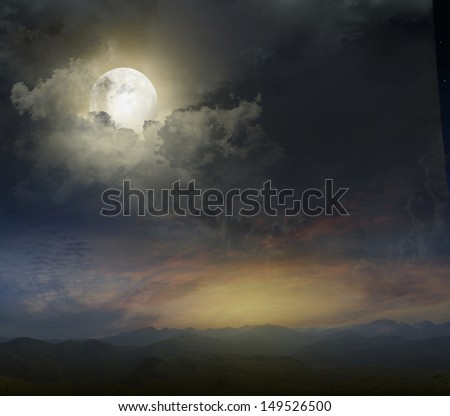 Mountain landscape in the evening with the moon