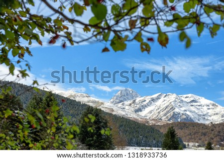 mountain landscape in the Pyrenees with the Pic du Midi de Bigorre in the background