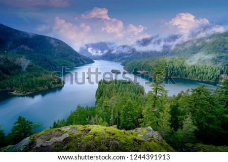 Mountain landscape, lake and mountain  Seattle, Washington state, USA.