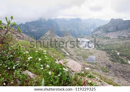 Mountain landscape. Mountain range Ergaki