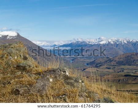 Mountain landscape, New Zealand's Southern Alps scenic landscape.