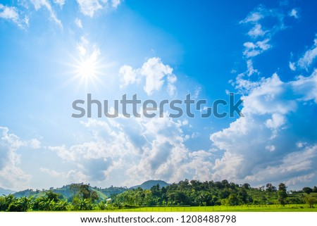 Mountain Landscape Panorama, Beauty of Nature Wallpaper with Blue Sky and Sun. Landscape Nature Background. Picture for Summer Season. #1208488798