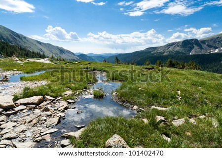 Mountain landscape reflection pool in the alpine tundra