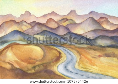 Mountain landscape - road among the sand dunes in the desert on sunset, panoramic view. Beautiful rocks and yellow sand desert. Watercolor hand drawn painting illustration.