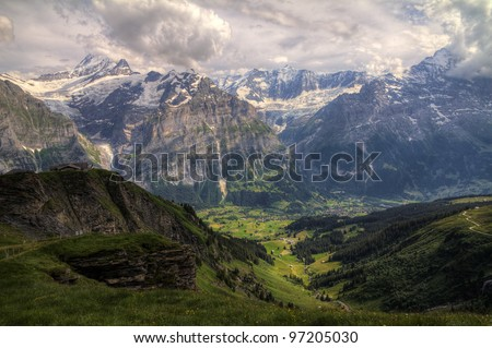 Mountain landscape swiss looking at the Jungfrau over Grindelwald