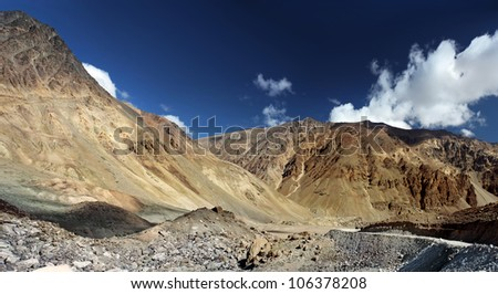 Mountain landscape. The Himalayas. Ladakh. Zanskar. India