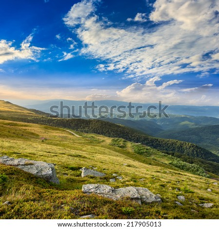 mountain landscape. valley with stones on the hillside. forest on the mountain under the beam of light falls on a clearing at the top of the hill at sunrise