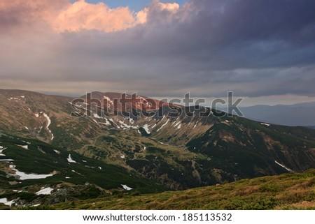 Mountain landscape valleys at sunset