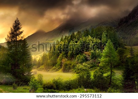 Mountain landscape with an evergreen forest and a meadow, in dramatic mood with dark clouds and warm dimmed light