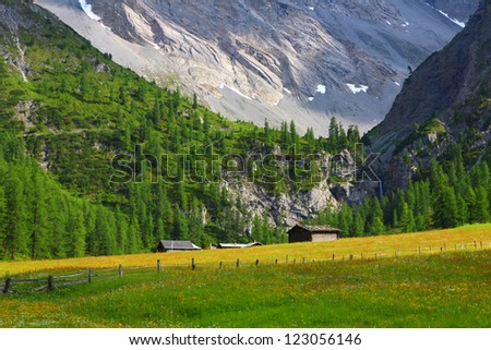 Mountain landscape with chalet on a meadow, Sertig Dorfli, Davos, Switzerland