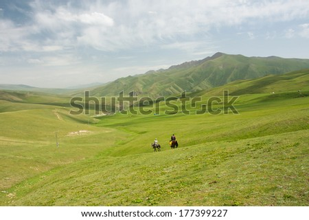 Mountain landscape with green grass valley and riders on horseback under white clouds sky #177399227