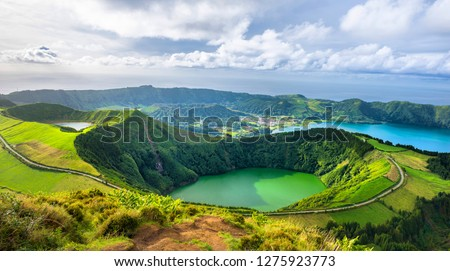 Mountain landscape with hiking trail and view of beautiful lakes Ponta Delgada, Sao Miguel Island, Azores, Portugal