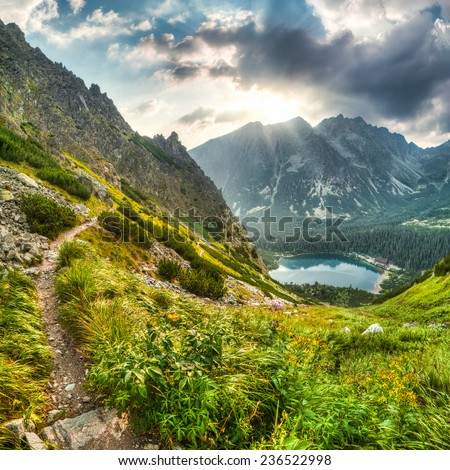 mountain landscape with mountain chalet near Poprad Pond, High Tatras, Slovakia #236522998