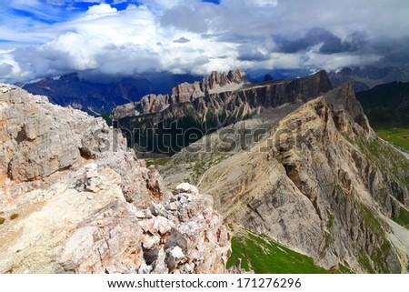 Mountain landscape with Nuvolau peak seen from Averau peak, Italy
