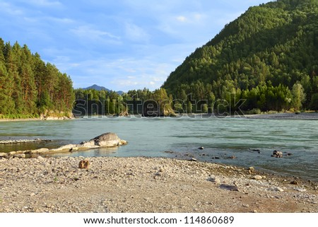 Mountain landscape with river and forest - stock photo